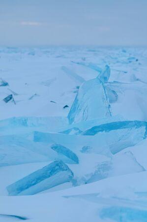Thin transparent ice floes. Hummocks on Huron lake