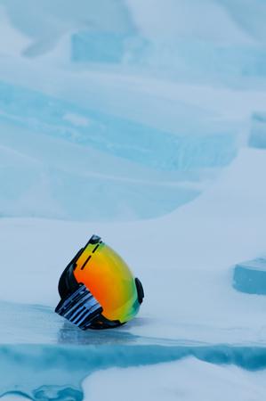 ski goggles: Ski goggles on Huron lake Stock Photo