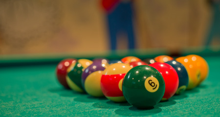 pool game: Snooker or Pool game on green table