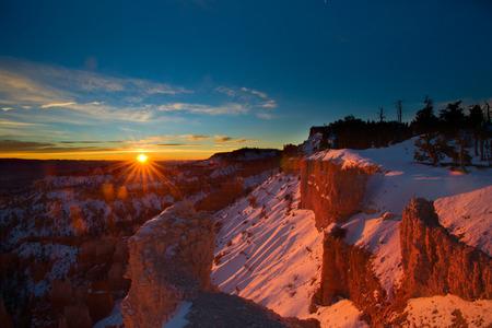 winter sunrise: Bryce Winter Sunrise Stock Photo
