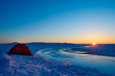 winter sunrise: Winter camping