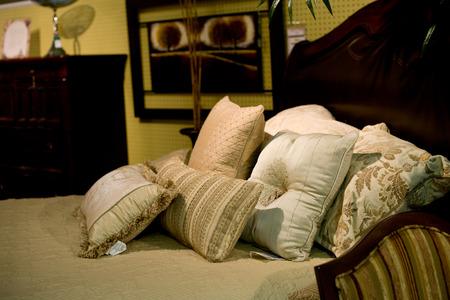 bedroom suite: Bed closeup in Bedroom Suite Stock Photo