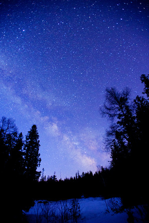 star: Scenery of milkyway at the middle of the night.