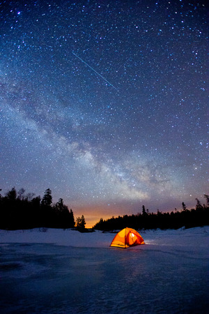 Scenery of milkyway at the middle of the night.