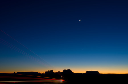 monument valley: driving through Monument Valley Stock Photo