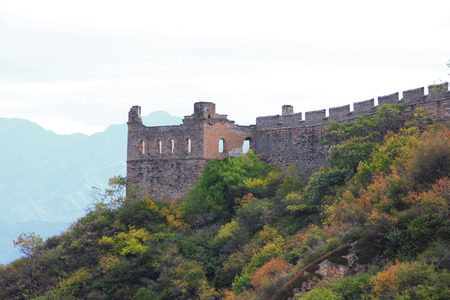 badaling: Badaling Great Wall with autumn leaves