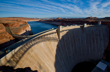 hydroelectric: Glen Canyon Dam in Page, hydroelectric power plant is delivering power for the whole area Stock Photo