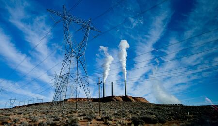 electricity substation: Power Station with Smoke Polution Stock Photo