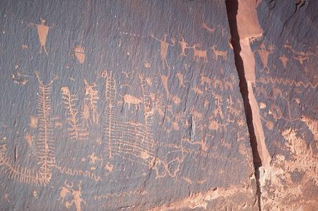 indian buffalo: Famous prehistoric rock paintings Stock Photo