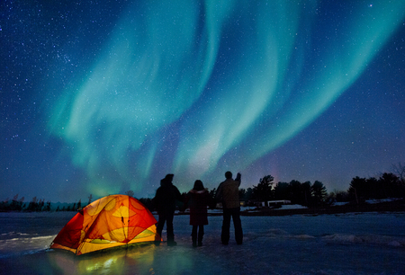 expedition: Tent under Northern Lights on a Expedition