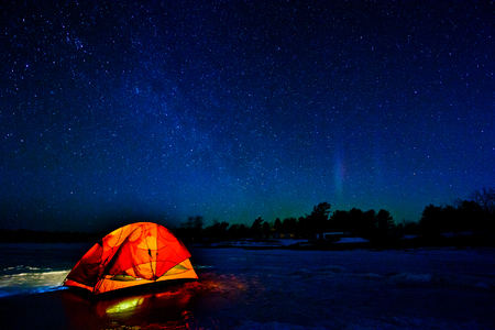 Tent under Northern Lights on a Expedition