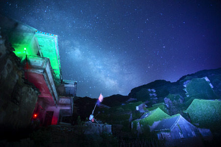 invaded: Ghost town over the Galaxy Stock Photo
