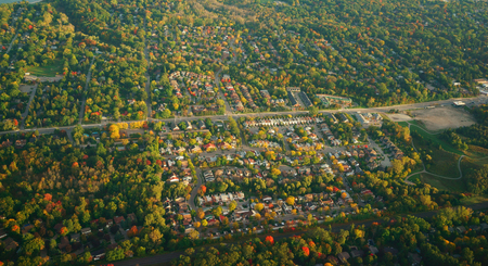 Aerial fall foliage view of rural village, Toronto, Canada Stock Photo
