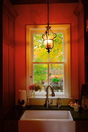 autumn color: kitchen window Stock Photo