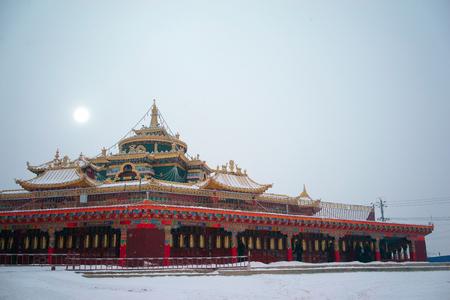 Vue de dessus à Larung Buddhist Academy Monastère de Sichuan Gar China Banque d'images - 73986260