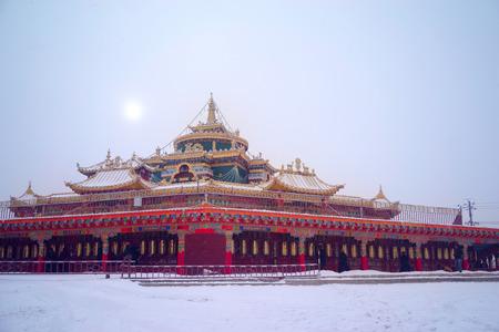 Vue de dessus à Larung Buddhist Academy Monastère de Sichuan Gar China Banque d'images - 73986261