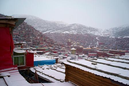 warren: Top view at Larung Buddhist Academy Sichuan monastery Gar China
