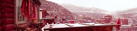 Vue de dessus à Larung Buddhist Academy Monastère de Sichuan Gar China Banque d'images - 74378938
