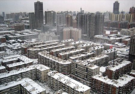 La ville de Tianjin, en Chine 12 D�cembre 2009-Neige jours � Tianjin, Chine