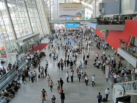 ariel: Guangzhou, China - October 18, 2010 : China Import and Export Fair 2010, the ariel view of Area A