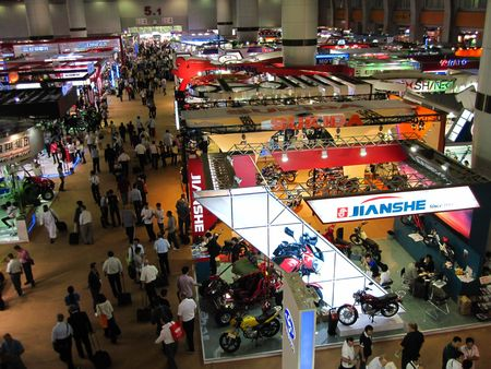 canto: Guangzhou, China - October 18, 2010  : China Import and Export Fair 2010, the motorbike and bike section Editorial
