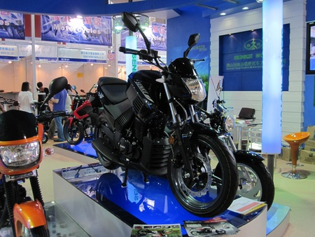canto: Guangzhou, China - October 18, 2010  : Canto Fair China Import and Export Fair 2010, exhibition and show for Stylish Urban Motorcycle