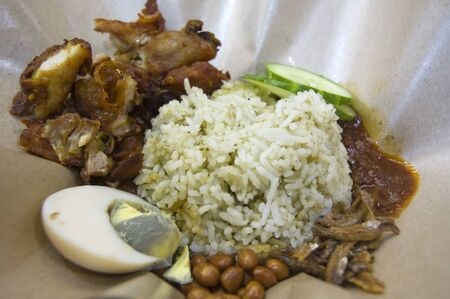 Coconut rice, a Malaysia Malay tradition food that is popular among the Malaysian
