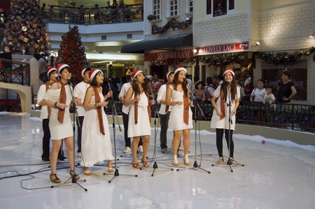 Selangor, Malaysia, December 25, 2010 - Christmas Caroling Performnce at One Utama Shopping Center