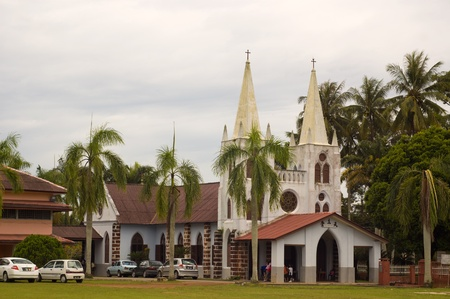 Melacca, malaysia, November 6, 2011 - The old  pre-war catholic church at Ayer salak Editorial
