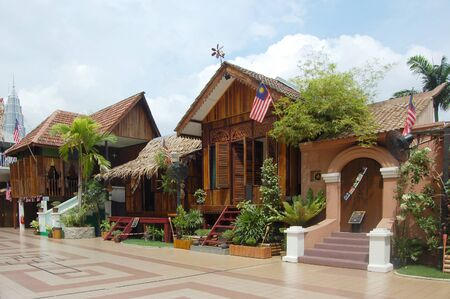 Kuala Lumpur, Malaysia, August 31, 2011 - The traditional malay wooden house being display at Kuala Lumpur tower