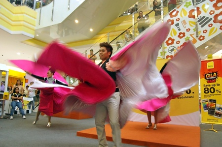 telco: Melacca, Malaysia - January 1, 2012 - The contemporary Dance performance at Jaya Jusco by Digi