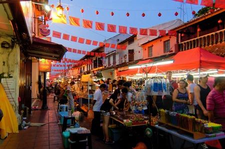Melacca, la Malaisie, Janvier 28,2012 - La foule au Melacca Jonker Street au cours du Nouvel An chinois �ditoriale