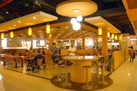 Johor, Malaysia, January 2012 - the food center at Johor Premium Outlet
