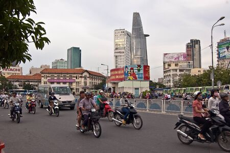 Ho Chi Minh, Vietnam, July 17, 2012 -  the busy street of Ho Chi Minh City which pack with motorcycle