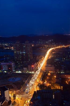 Dongguan,  China , August 30, 2012 - night scene on the Dongguan city street