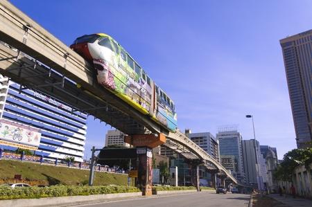 Pudu, kuala Lumpur, Malaysia, October 15, 2012 - The Kuala Lumpur Light Rail Tansit Train Speeding towards downtown Editorial