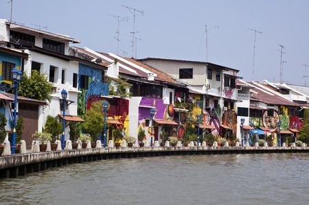 Melacca, Malaysia , December 10, 2012 -  The Colorful building next to the Melacca River
