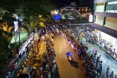 congested: Johor, Malaysia - November 6, 2012 - the crowd waiting for the parade during the Nine Emperor God Festival Celebration