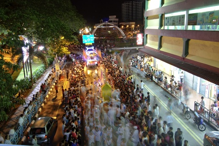 Johor, Malaysia - November 6, 2012 - the crowd congested the whole street during the Nine Emperor God Festival Celebration