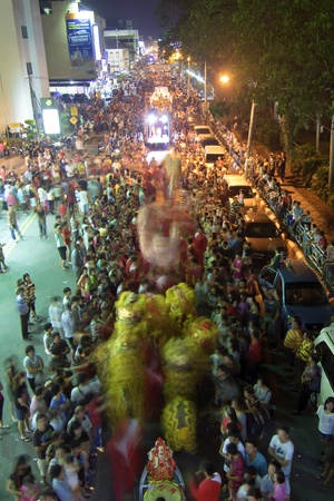Johor, Malaysia - November 6, 2012 - The Parade of Nine Emperor Gods Festival where the crowd congested the whole street