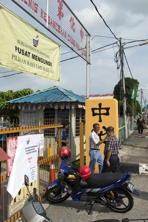 Muar, Johor, Malaysia  - May 5, 2013 - the Election day for Malaysia 13th General Election