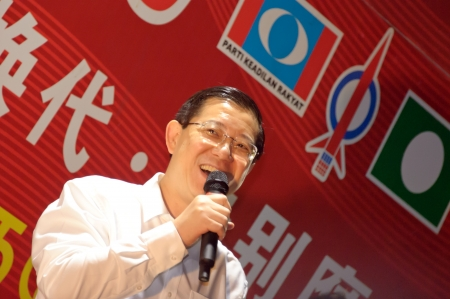 Johor, Malaysia - May 1, 2013 - the Chief Minister of Penang Lim Guan Eng giving speech during Malaysia General Election campaign