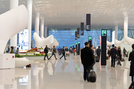 Shenzhen, China, December 18, 2013 - the departure terminal at the new China Shenzhen airport