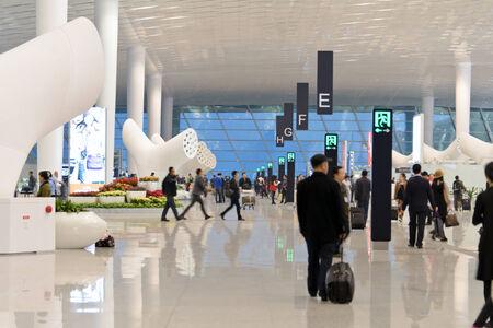 Shenzhen, en Chine, le 18 D�cembre, 2013 - la borne de d�part du nouvel a�roport de Shenzhen Chine