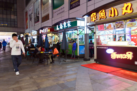 China, Guandong, zhongshan , December 20, 2013 - The outdoor street stalls during the night time