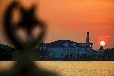 Mosque at Tanjung Mas, Malayisa with beautiful sunset