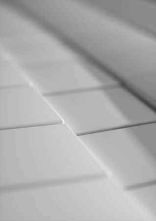 Cubes Tiles Diagonal Background Pure White with depth of field for A4 cover. Standard-Bild - 128765688
