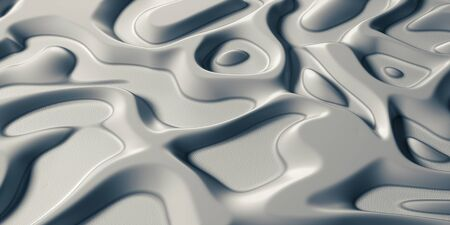 3d Visual arts background with Psychedelic Tribal Liquid Surface Cold White Snow texture. Close-up view