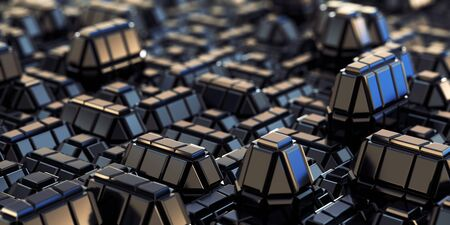 Abstract Geometric city background with reflective cubic metal tiles pattern and bokey, close-up view. Фото со стока