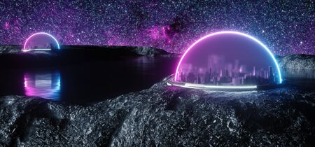 Illustration of abstract encapsulated futuristic cities on space, on new habitable planet with life and water, on rocky ground, artificial atmosphere, 3d render, space colonization concept with space background and purple blue glowing neon. Standard-Bild